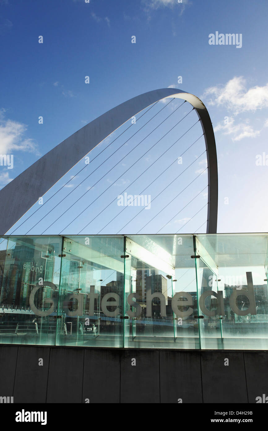 Gateshead Millennium Bridge over the River Tyne, Newcastle Quayside, Newcastle-upon-Tyne, Tyne and Wear, England, - Stock Image