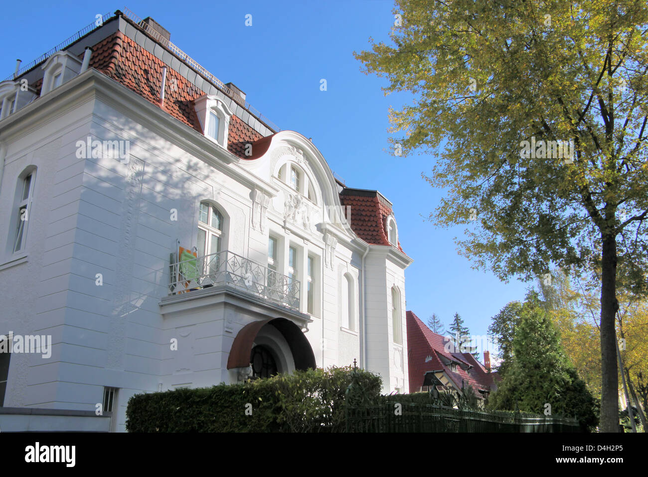 Period of promotion style house in residential area in Wiesbaden, Hesse, Germany - Stock Image