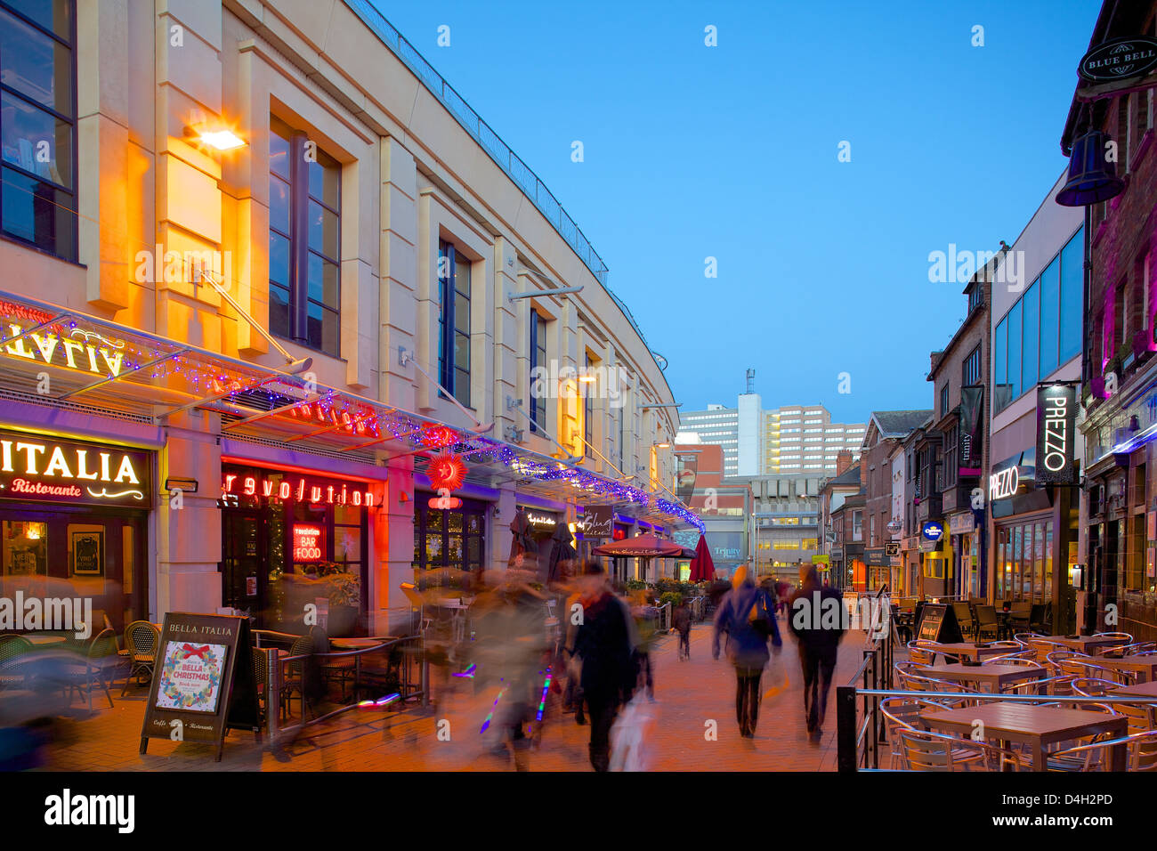Forman Street at dusk, Nottingham, Nottinghamshire, England, UK - Stock Image