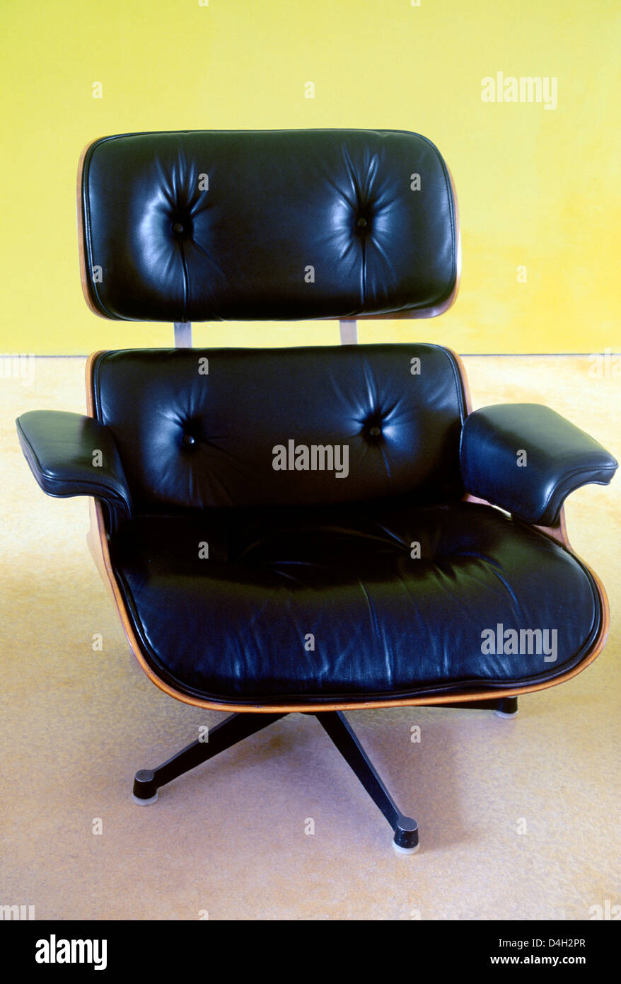 Black Leather Eames Chair Stock Photo