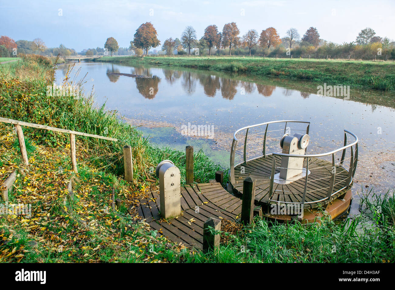 Manual river crossing on the River Mark in autumn, taken from the Belgium-Holland border, Meersel Dreef, Belgium - Stock Image