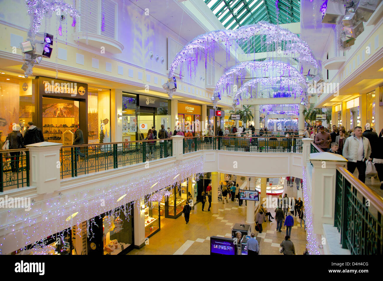 Interior of Meadowhall Shopping Centre at Christmas, Sheffield, South Yorkshire, Yorkshire, England, UK - Stock Image