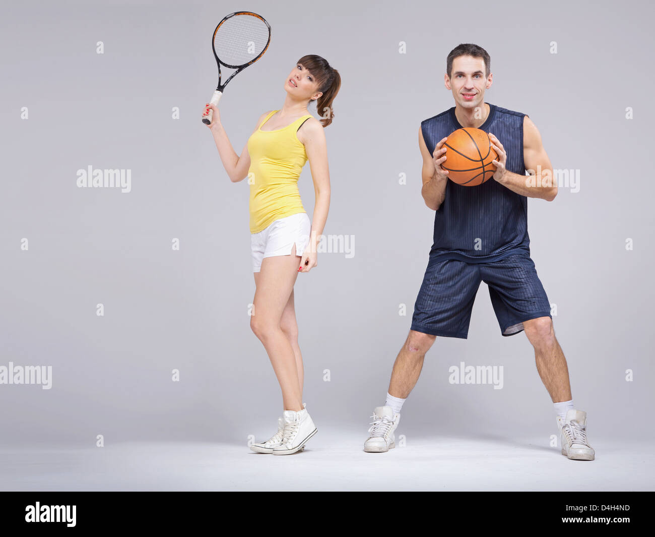 Athletic young couple during the training Stock Photo
