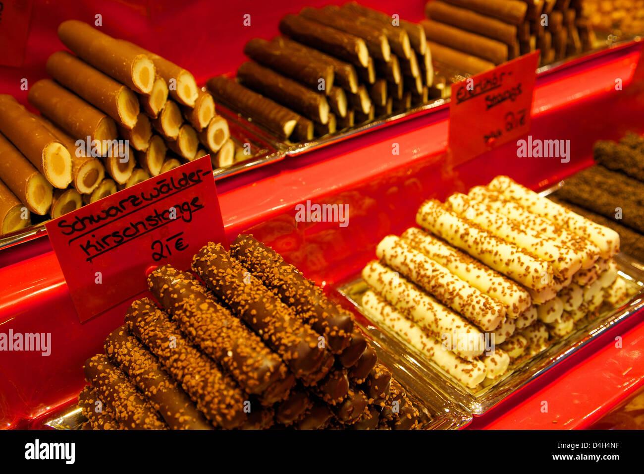 Chocolate stall at the Christmas Market, Dortmund, North Rhine-Westphalia, Germany Stock Photo