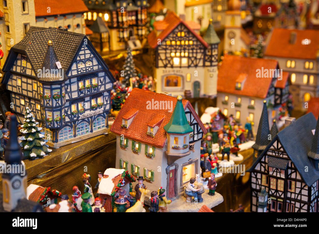 Christmas ornaments for sale at the Christmas Market, Dortmund, North Rhine-Westphalia, Germany - Stock Image
