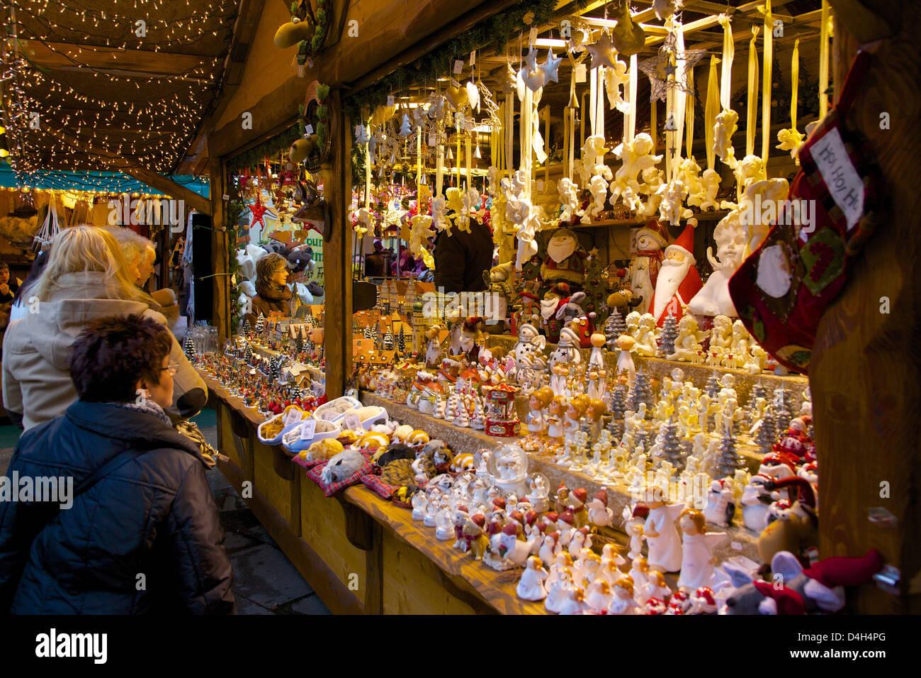 Christmas Market stall, Dortmund, North Rhine-Westphalia, Germany Stock Photo