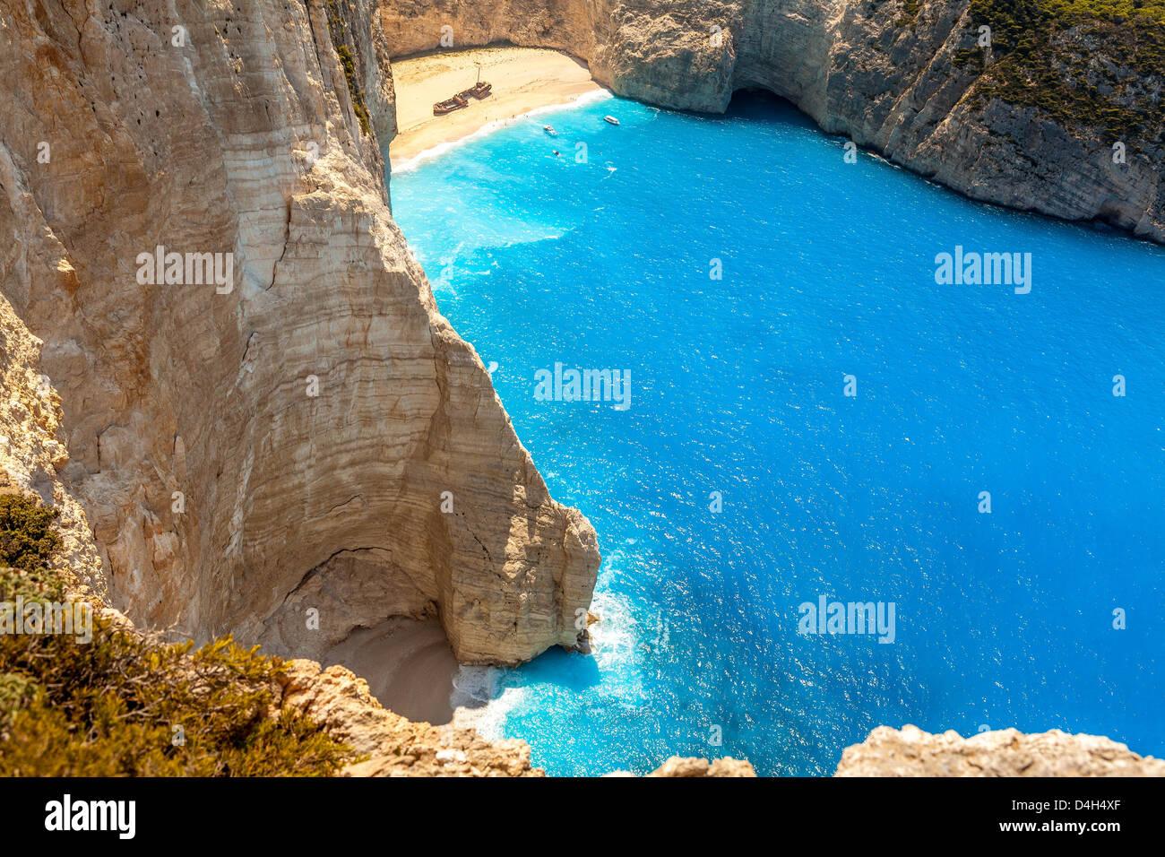 Amazing beach Navagio in Zakynthos, Greece - Stock Image
