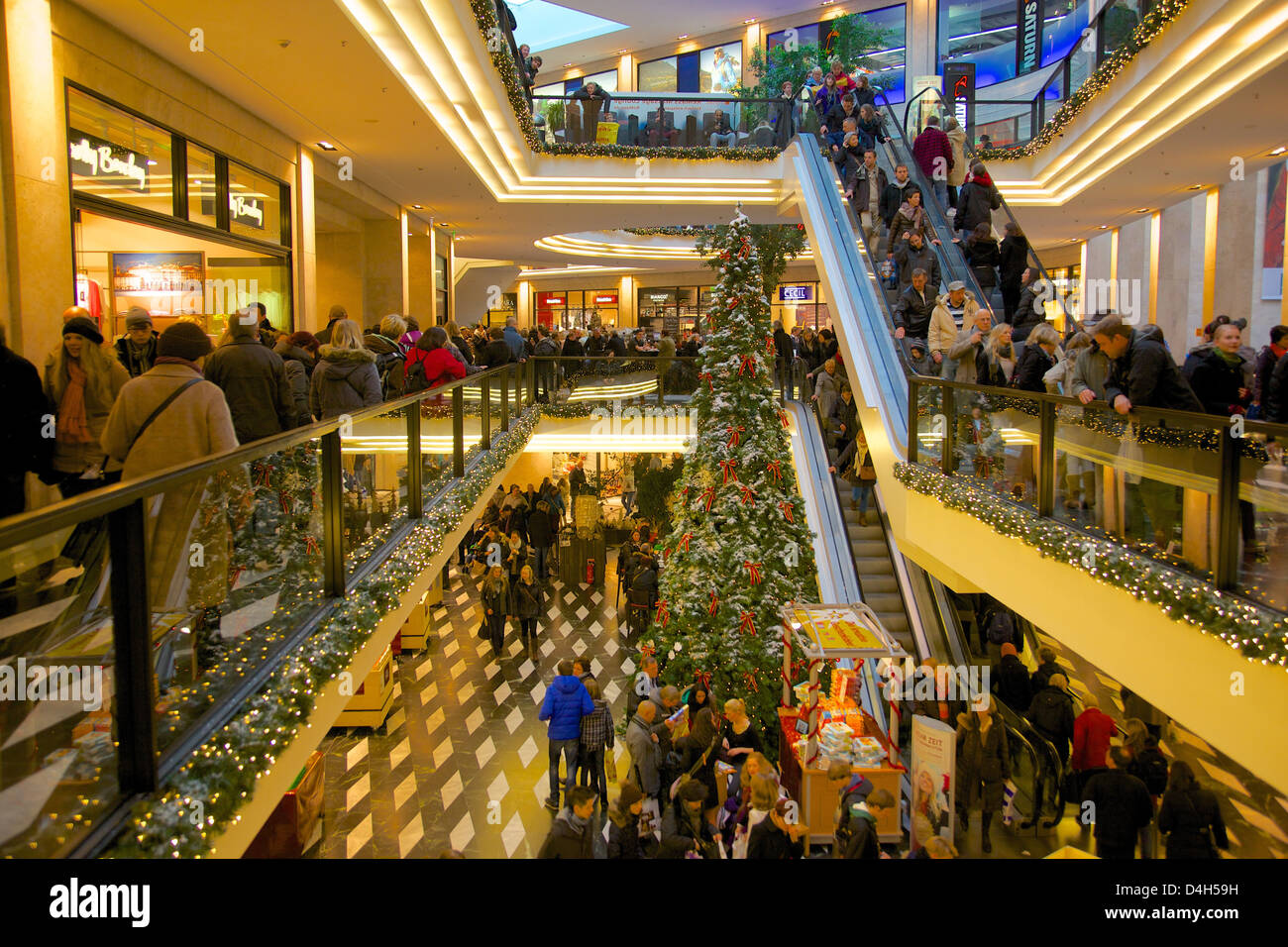 Saturn Shopping Centre at Christmas, Munster, North Rhine-Westphalia, Germany Stock Photo