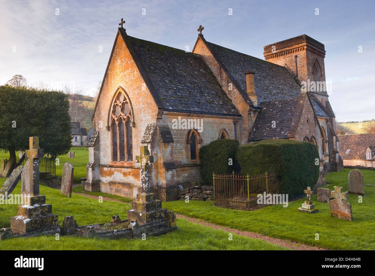 The church of St. Barnabas in the Cotswold village of Snowshill, Gloucestershire, England, UK Stock Photo