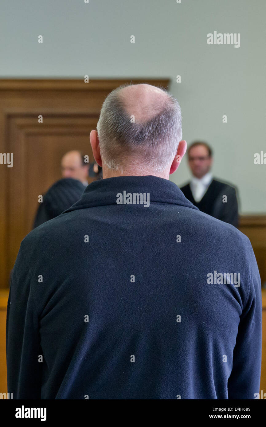 Defendant Armin S. appears at the Regional Court Nuremberg-Fuerth in Nuremberg, Germany, 14 March 2013. The 50-year - Stock Image