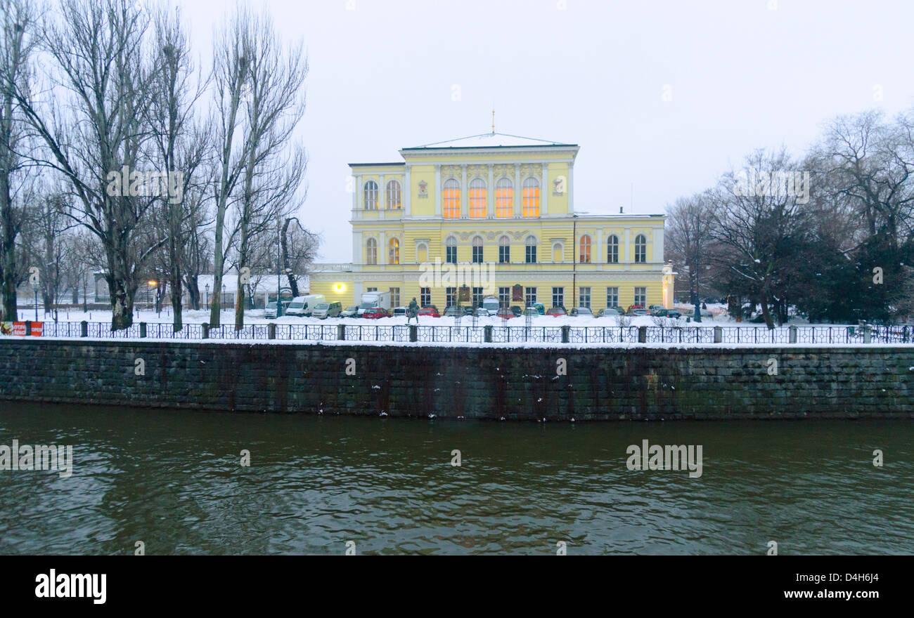 winter shot, neo-renaisance palace Zofin, Slavic Island, Prague, Czech Republic Stock Photo