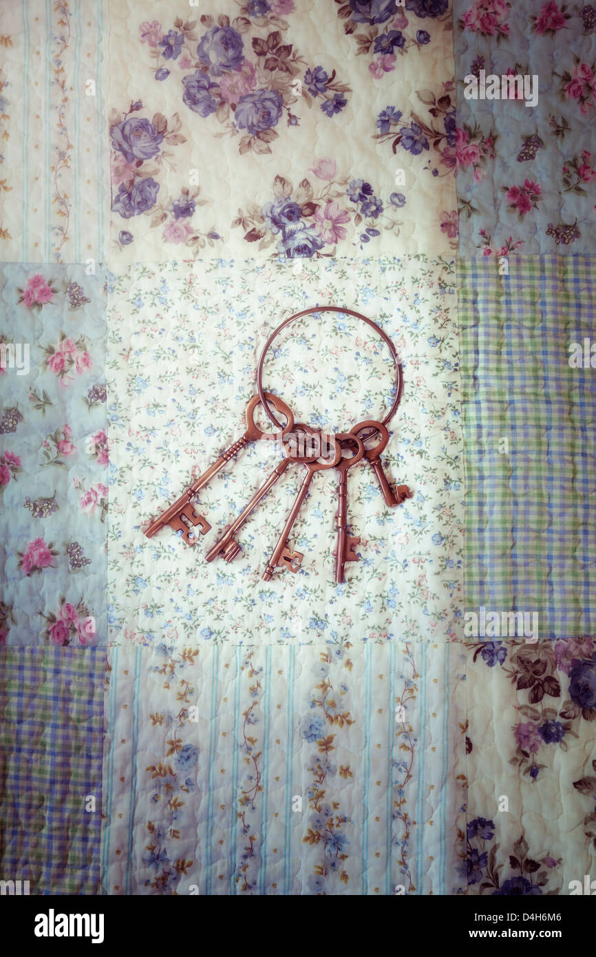 an old keyring with a bunch of keys on a vintage plaid - Stock Image