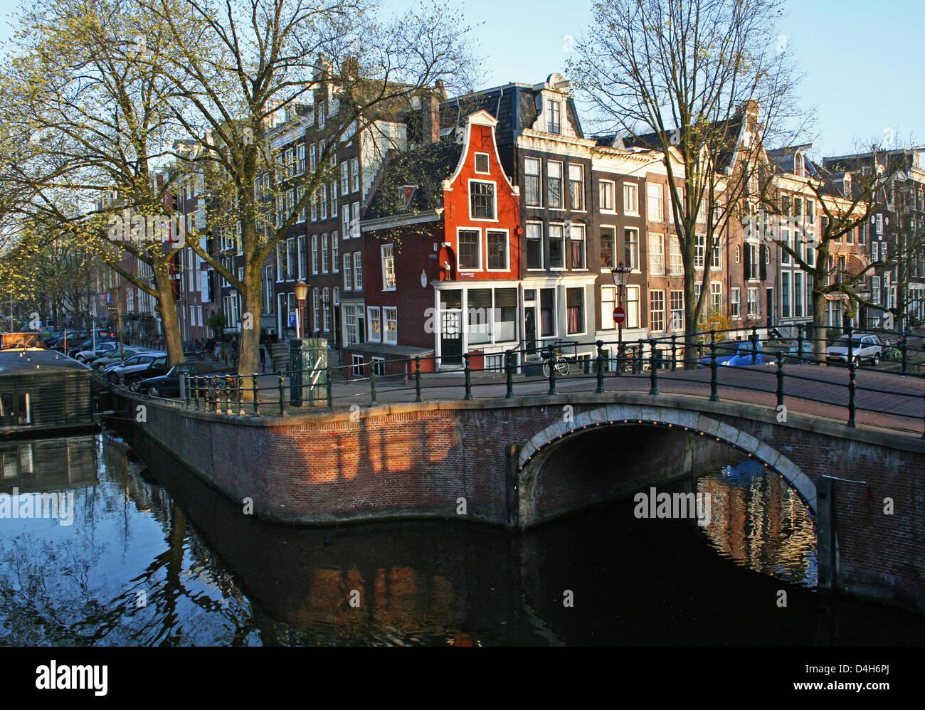 The Netherlands Holland Amsterdam Prinsengracht Reguliersgracht Clock gable ± 1675 Canal District Stork Corner - Stock Image