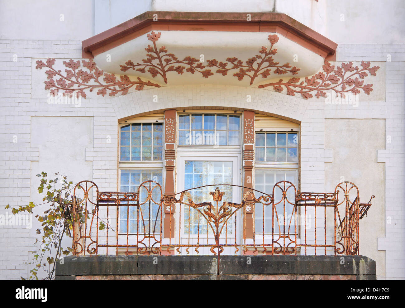 Art Nouveau style house in residential area in Wiesbaden, Hesse, Germany - Stock Image