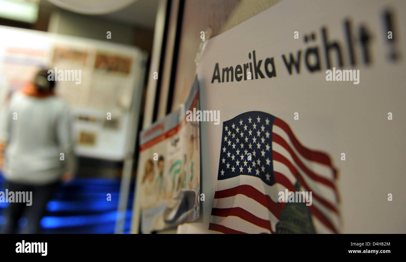 A student is pictured during a US election party at the canteen of the university in Freiburg, Germany, 05 November - Stock Image