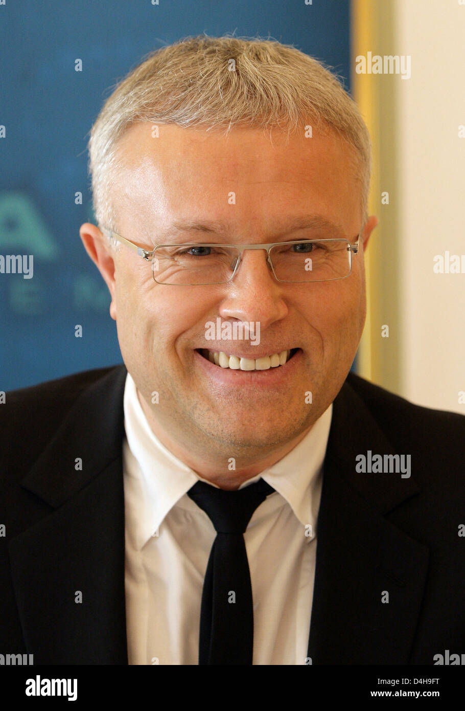 Alexander Lebedev, Russian billionaire and former KGB-officer, delivers a speech on effects of the financial crisis - Stock Image