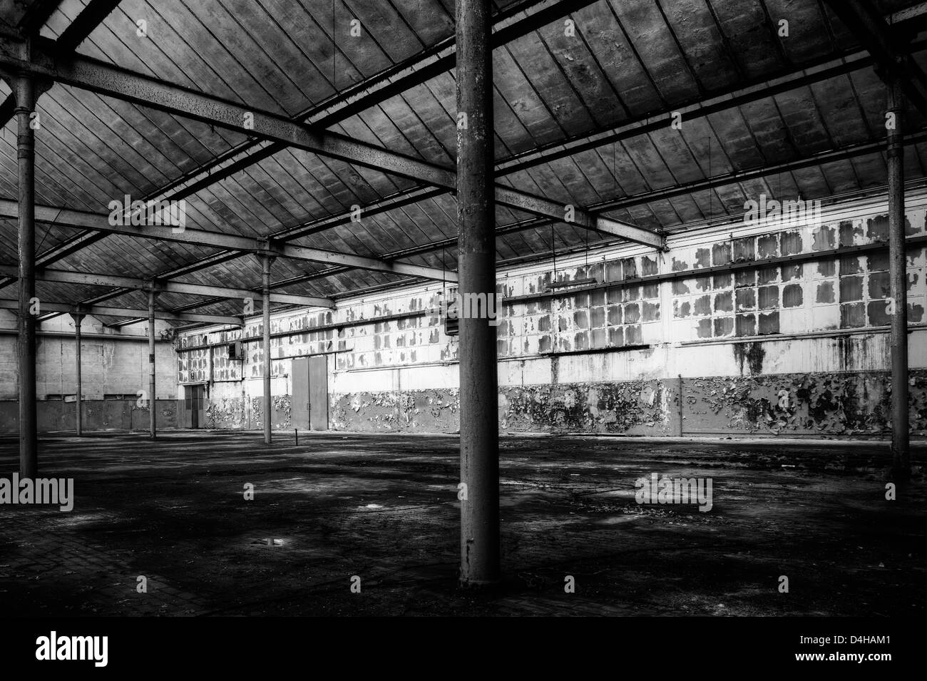 Italy. Abandoned factory warehouse - Stock Image