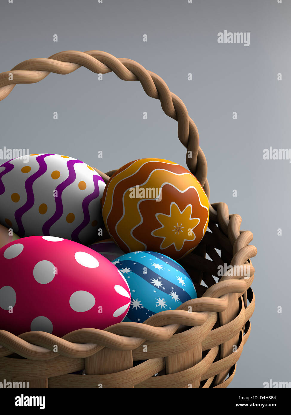 Decorated easter eggs in a basket (3D render) - Stock Image
