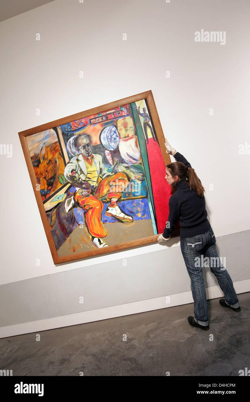 Uta Gewicke looks on R  B  Kitaj?s ?The Jewish Rider? (oil