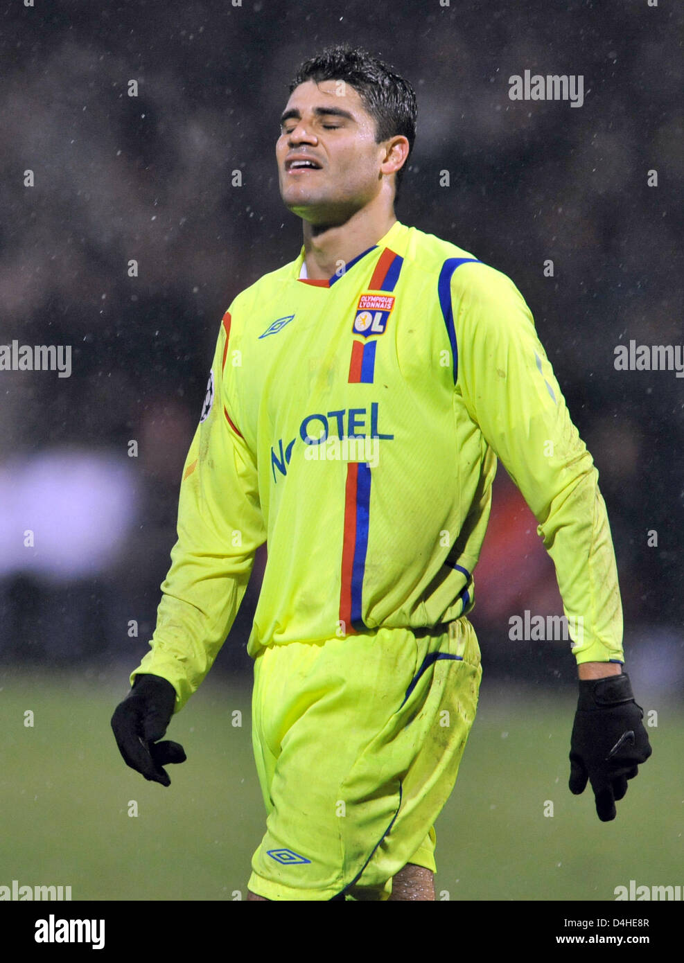 Ederson of Olympique Lyon gestures during the Champions League Group F match against FC Bayern Munich at Stade de Stock Photo