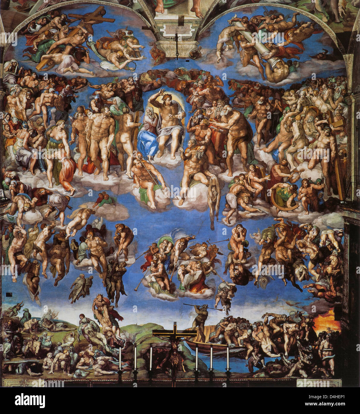 The Last Judgment, 1537-41 by Michelangelo at the Sistine Chapel, Saint Peter's, Rome - Stock Image