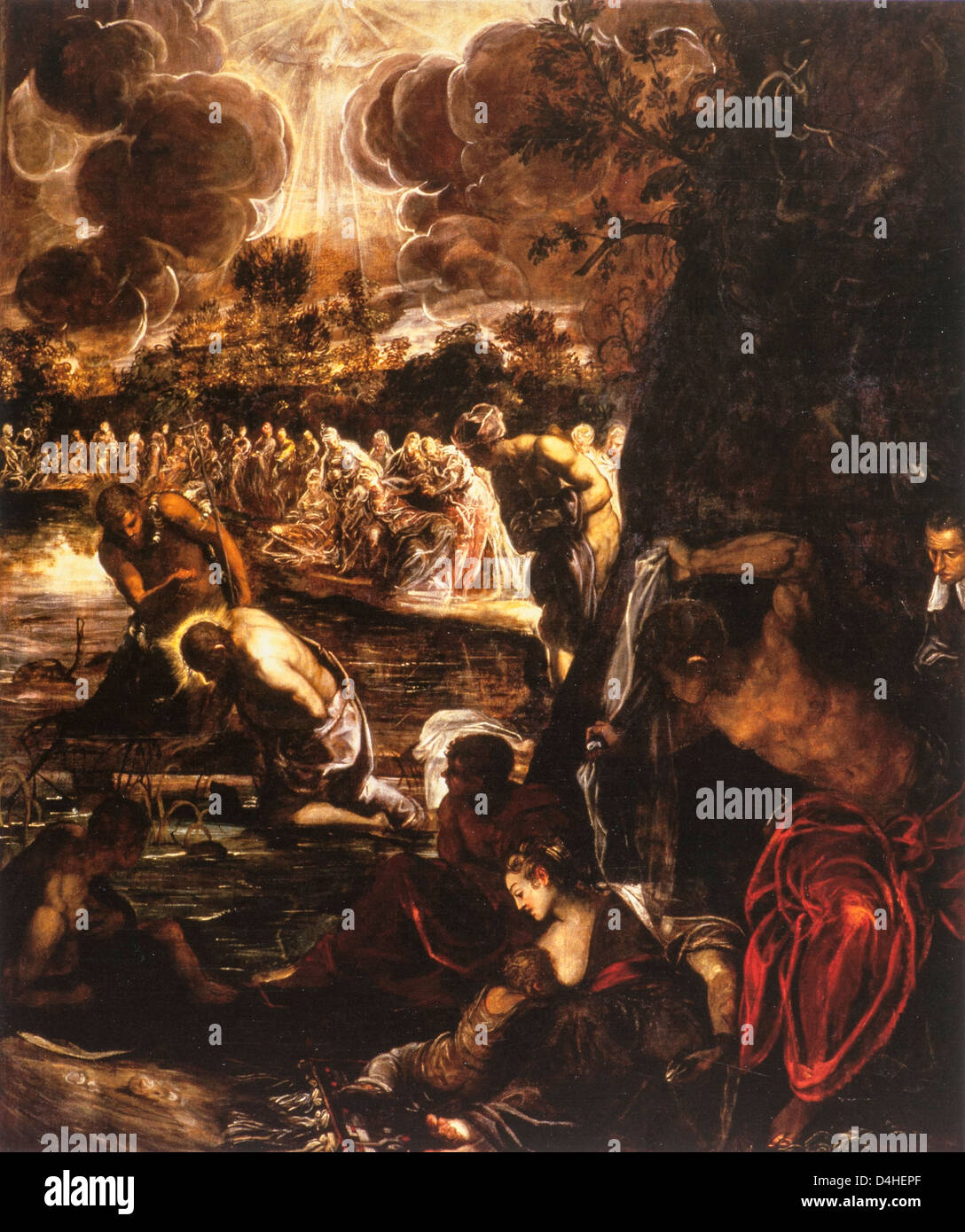 The Baptism of Christ, 1578-81 by Tintoretto at the Scuola Grande di San Rocco, Venice - Stock Image