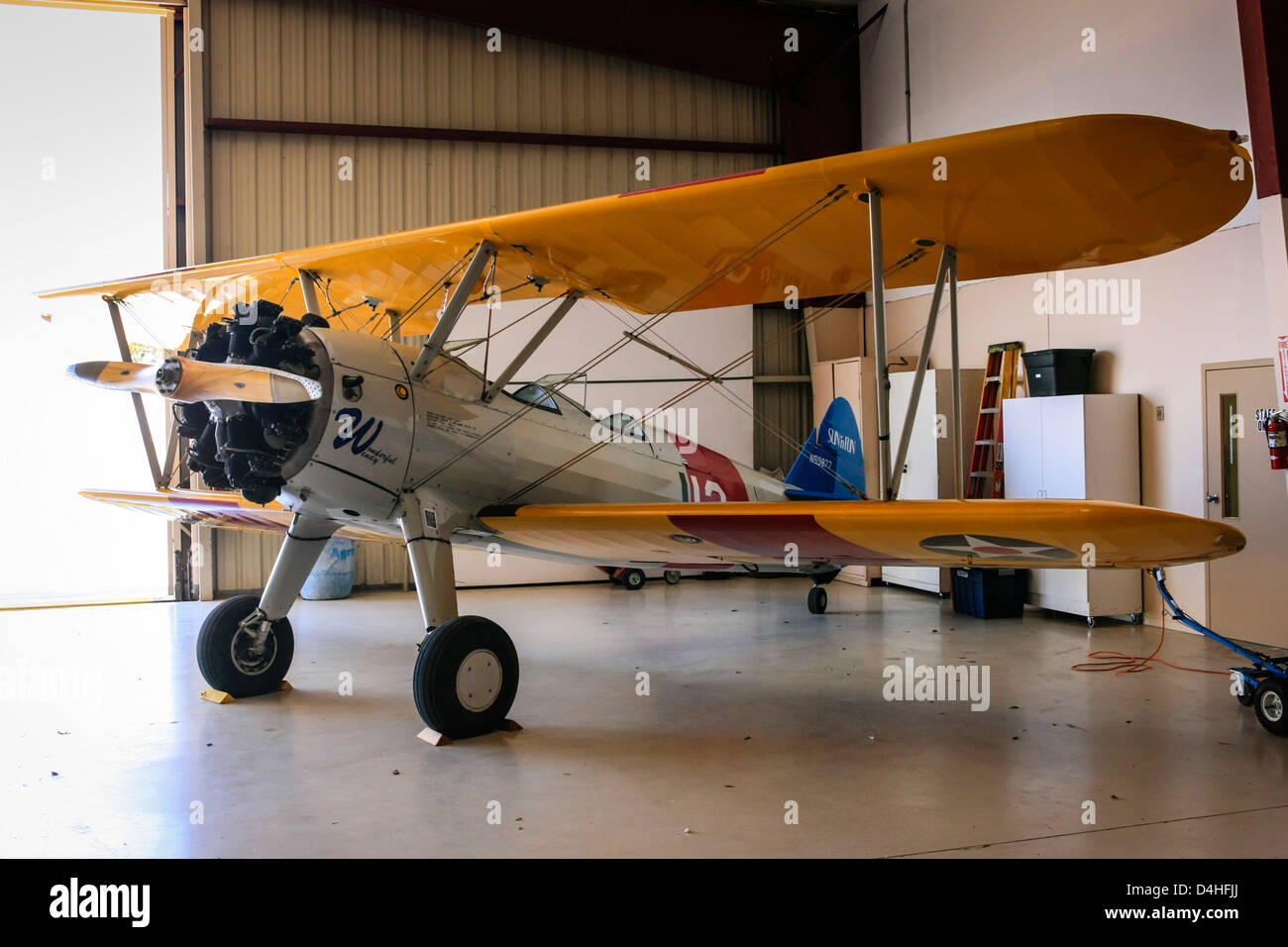 1941 Boeing A75N1(PT17) Stearman plane at the Sun n Fun Florida Air Museum in Lakeland - Stock Image