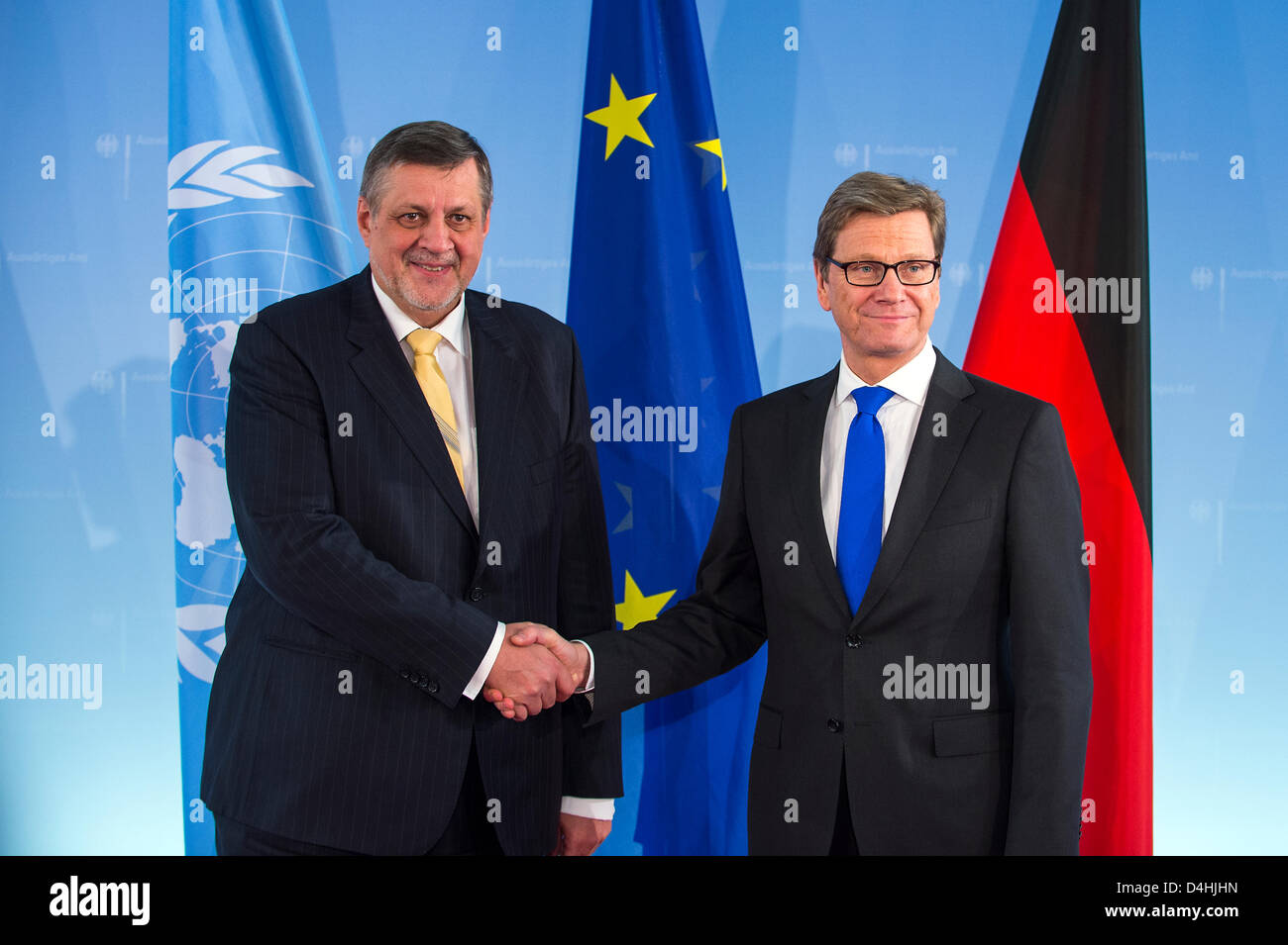 March 14th, Berlin - Germany. Foreign Minister Guido Westerwelle welcomes the Special Representative of the UN Secretary - Stock Image