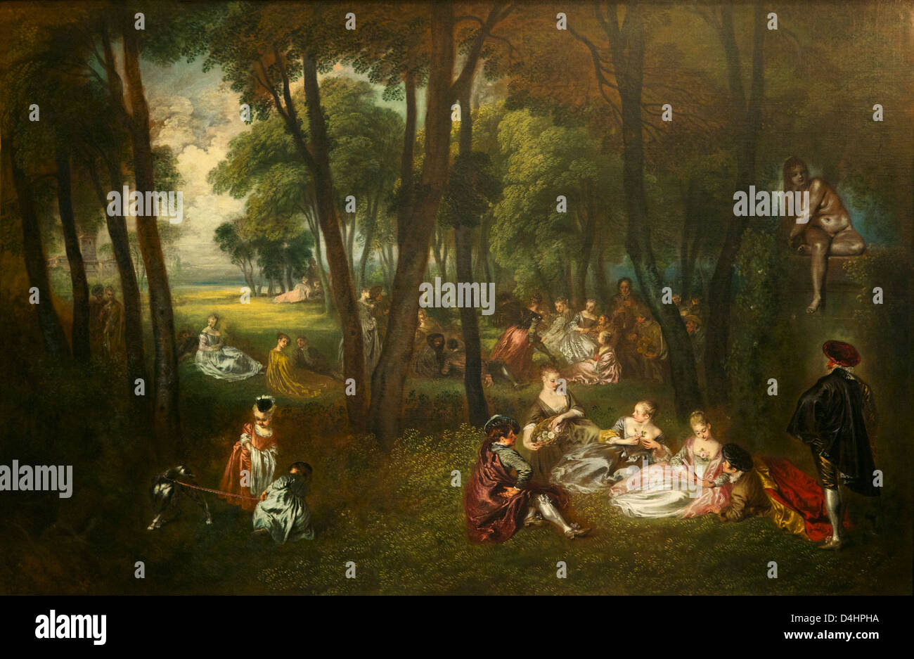 Fete in a Park, by Antoine Watteau, 1719-1721, Wallace Collection, London, England, UK, GB - Stock Image