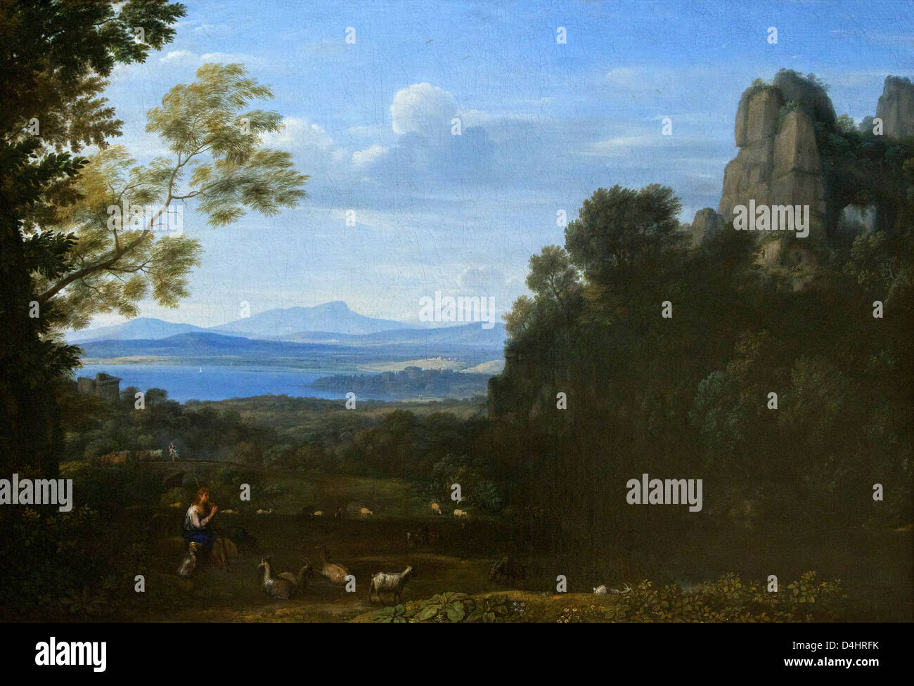 Landscape with Apollo and Mercury, by Claude Lorrain, 1660, Wallace Collection, London, England, UK, GB - Stock Image