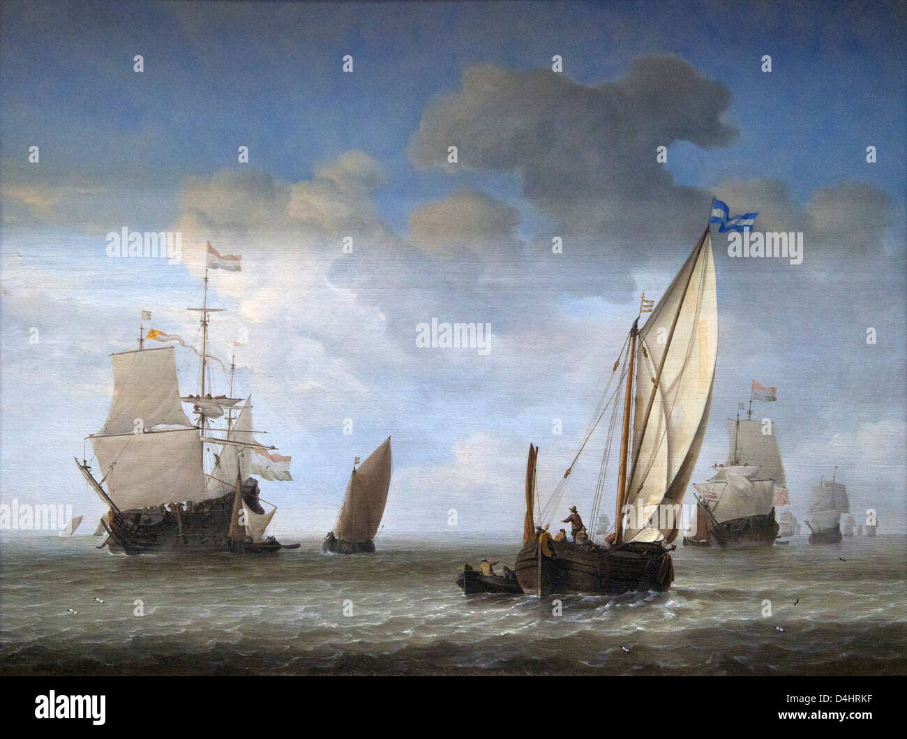 Vessels in a Breeze, by Willem van de Velde the Younger, circa 1655, Wallace Collection, London, England, UK, GB - Stock Image