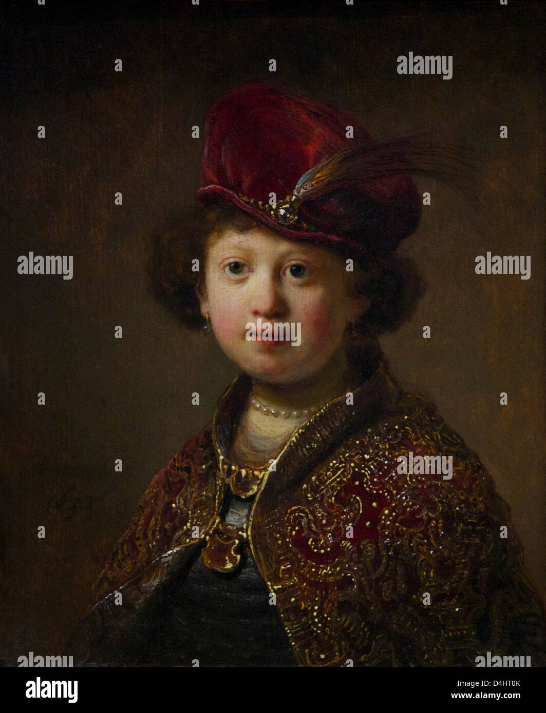 Boy in Fanciful Costume, by studio of Rembrandt van Rijn, 1633, Wallace Collection, London, England, UK, GB - Stock Image