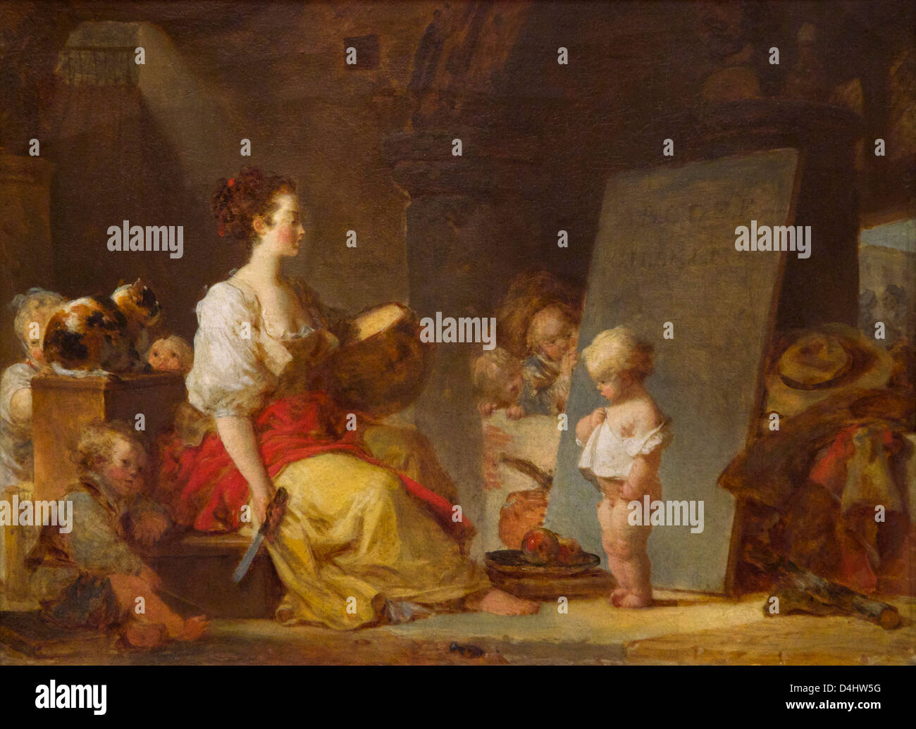 'Say Please', or Dites donc s'il vous plait by Jean-Honore Fragonard, circa 1780, Wallace Collection, - Stock Image