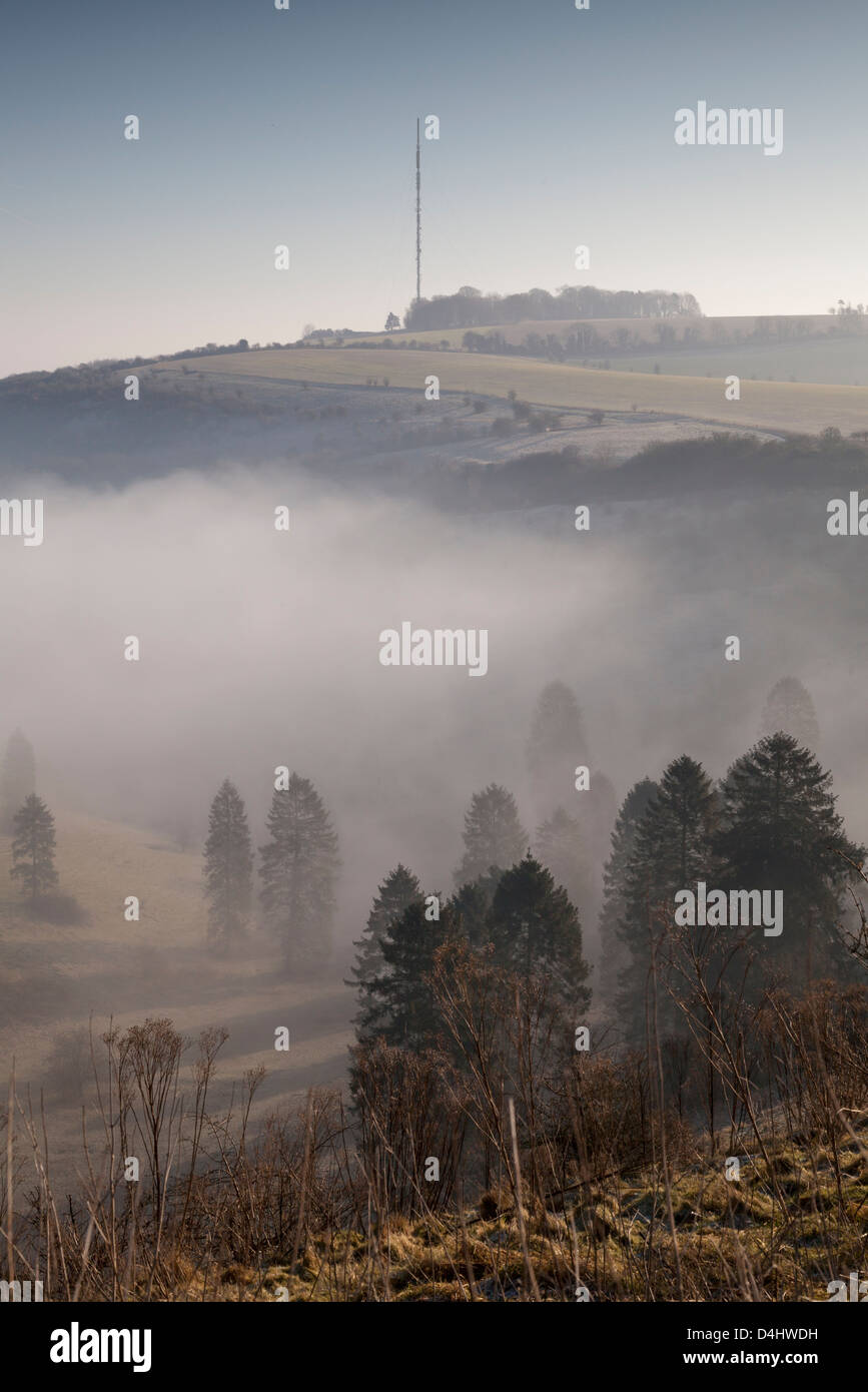 A morning view of Hannington Television mast on Cottington Hill in Hampshire seen from the Wayfarer's Walk on Cannon Stock Photo