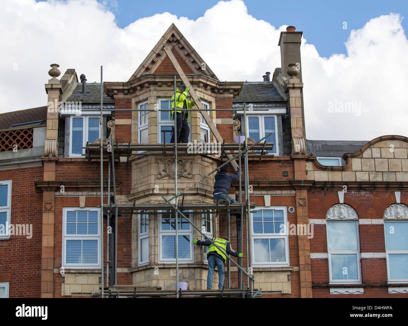 Scaffolders working in London - Stock Image