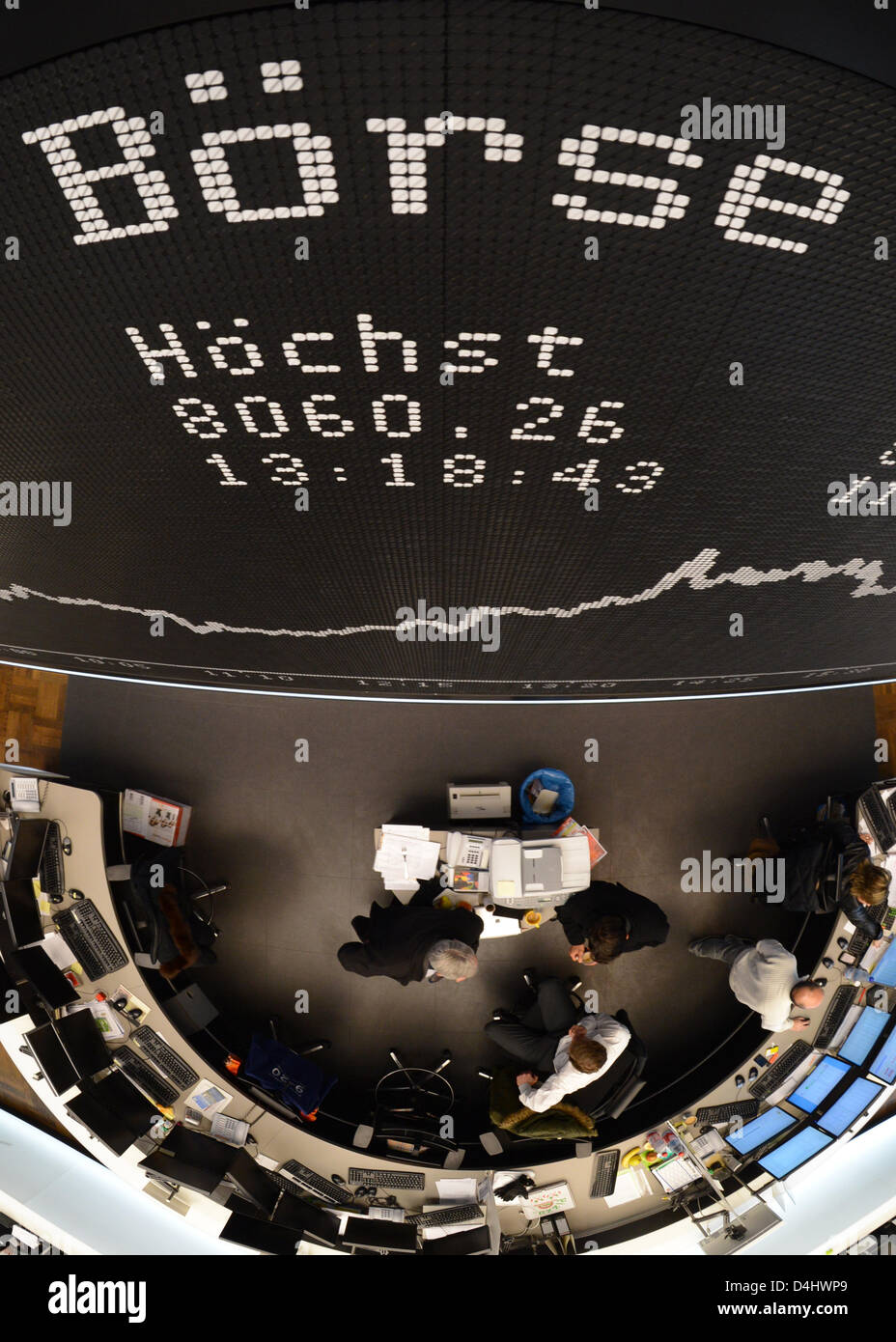 Tthe display with the DAX curve is pictured on the trading floor of the stock market in Franfurt Main, Germany, - Stock Image