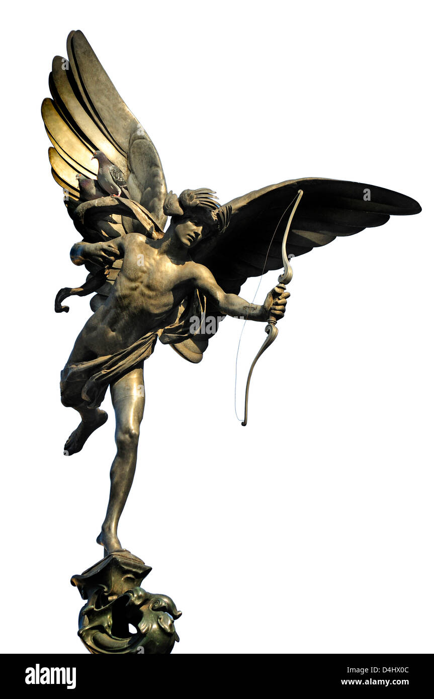 London, England, UK. Eros in Piccadilly Circus (Alfred Gilbert, 1893) properly the Shaftesbury Memorial Fountain. - Stock Image