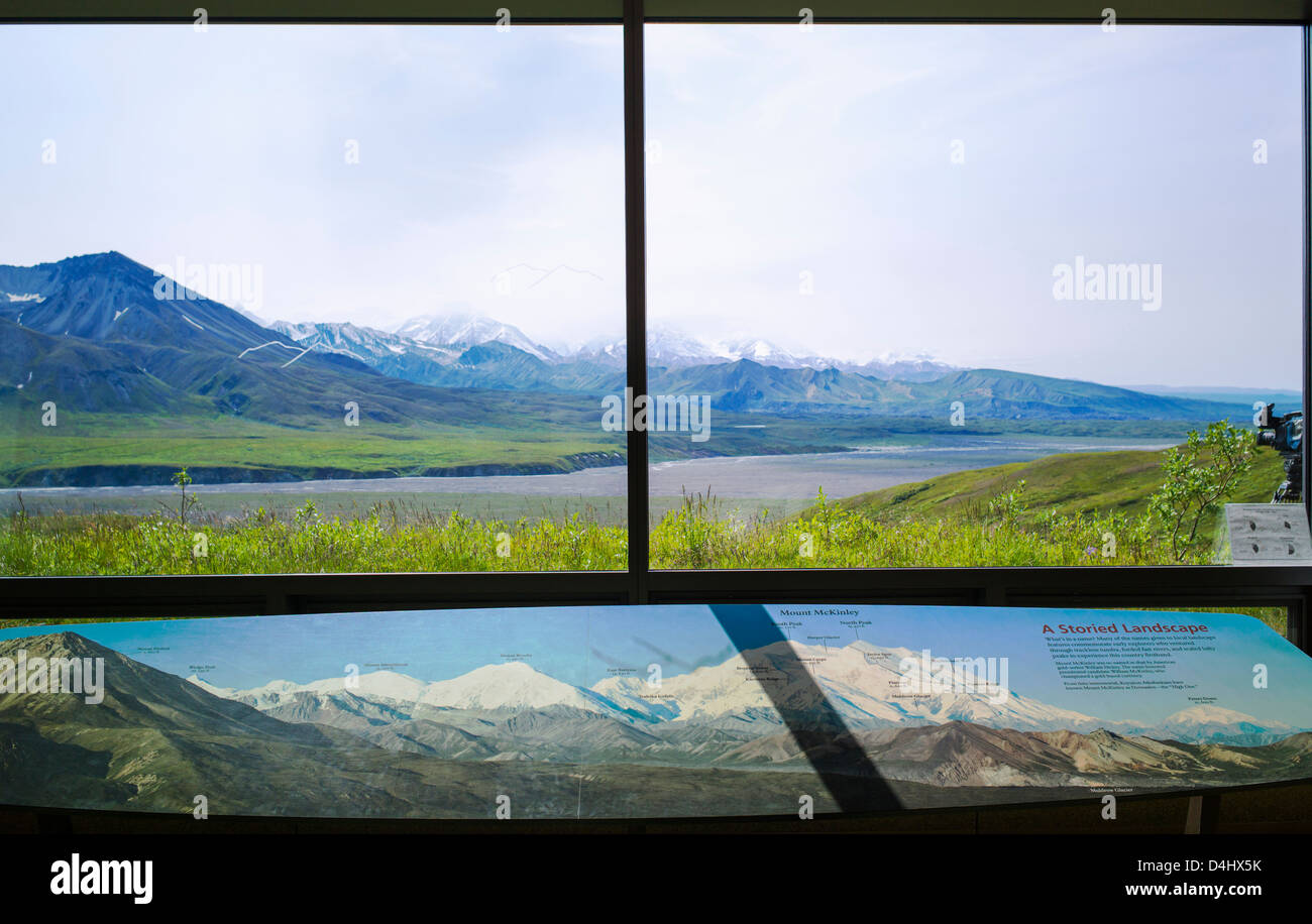 Map and window view of Mt. McKinley (Denali Mountain) and the Alaska ...