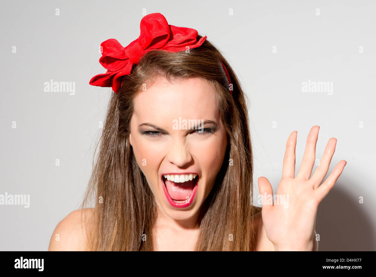 woman shouting - Stock Image