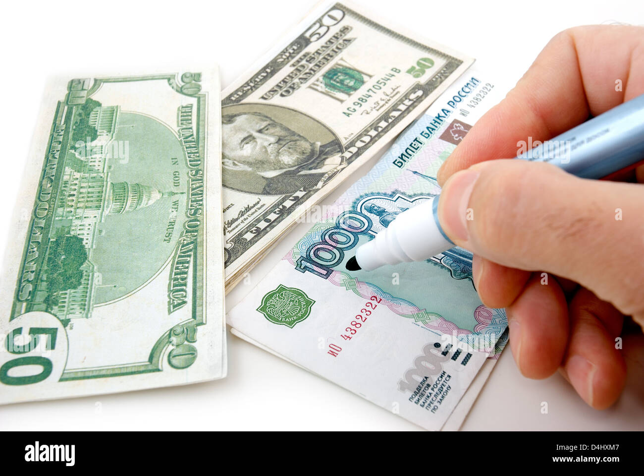 Drawing of monetary denominations, rubles and dollars - Stock Image