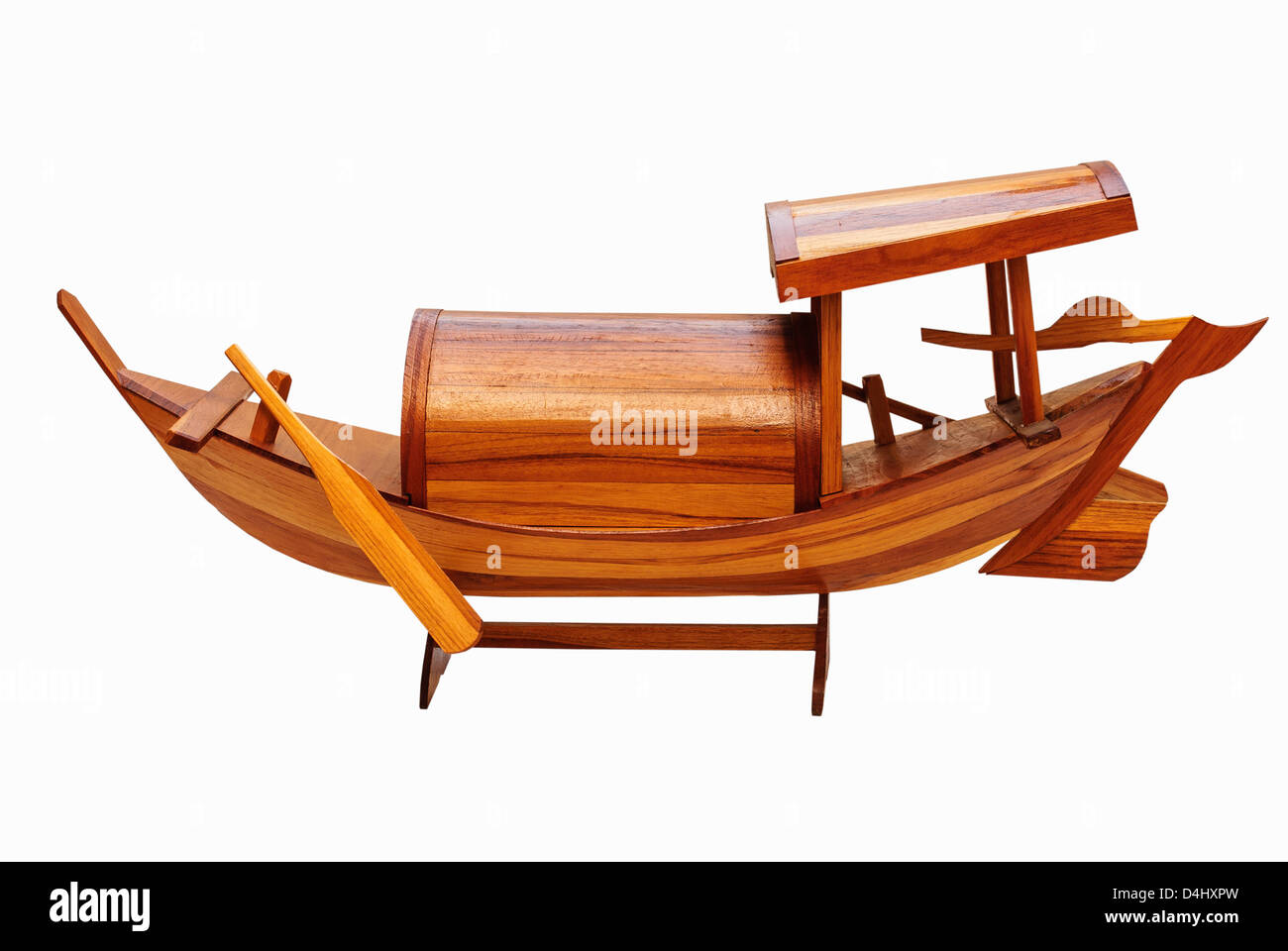 the wooden ship models Thai art and white background - Stock Image