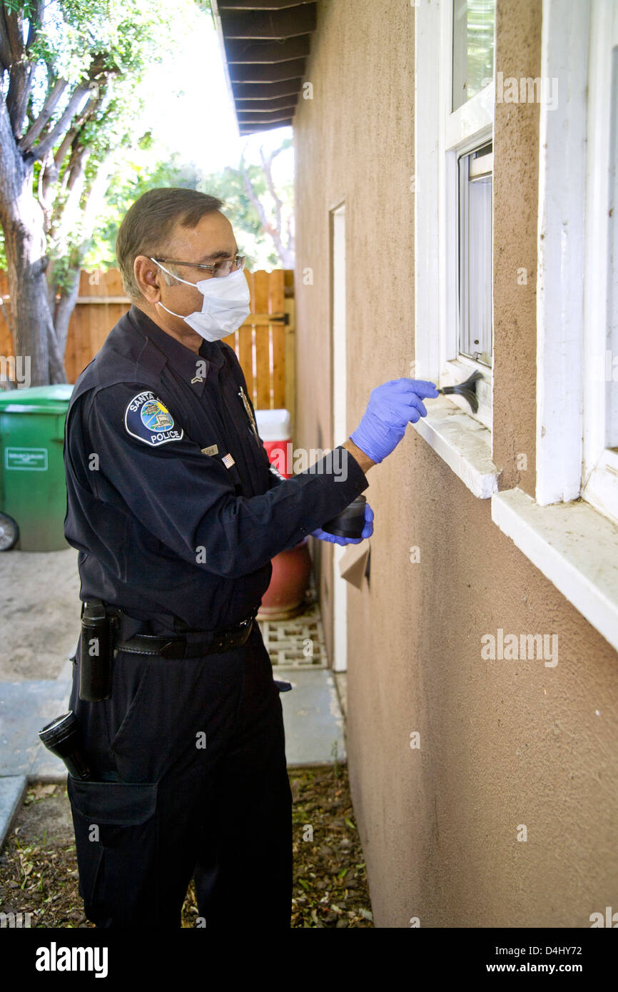 Wearing mask to avoid contaminating DNA evidence, a Pakistani-American police crime scene investigator applies fingerprint - Stock Image