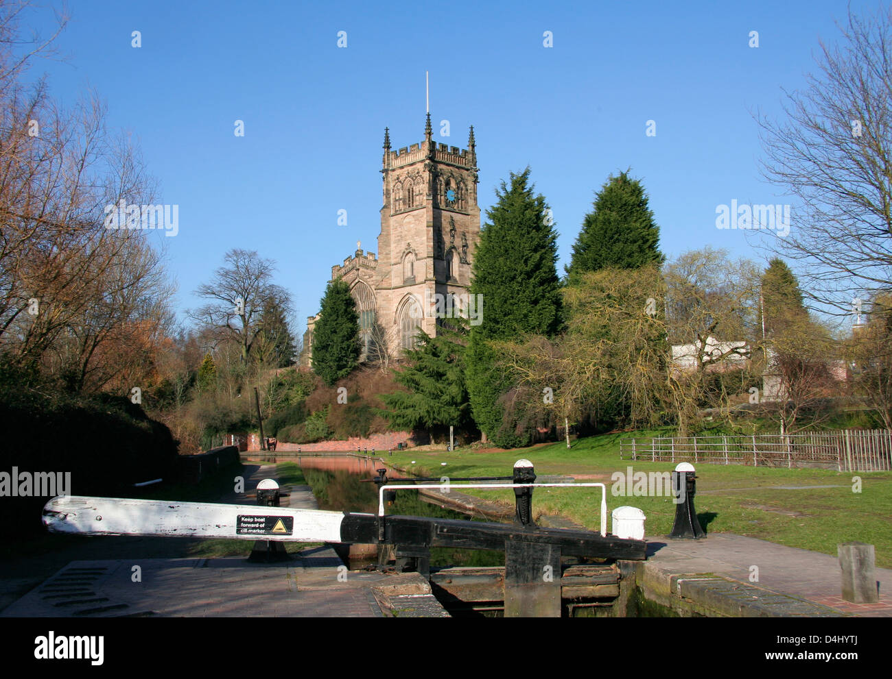 Staffordshire and Worcestershire Canal with parish church Kidderminster Worcestershire England UK Stock Photo