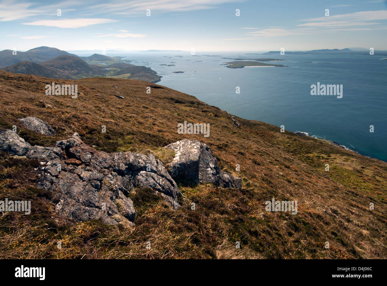 Isle of Harris from Toe Head. Isle of Lewis, Outer Hebrides, Scotland. Looking East. - Stock Image