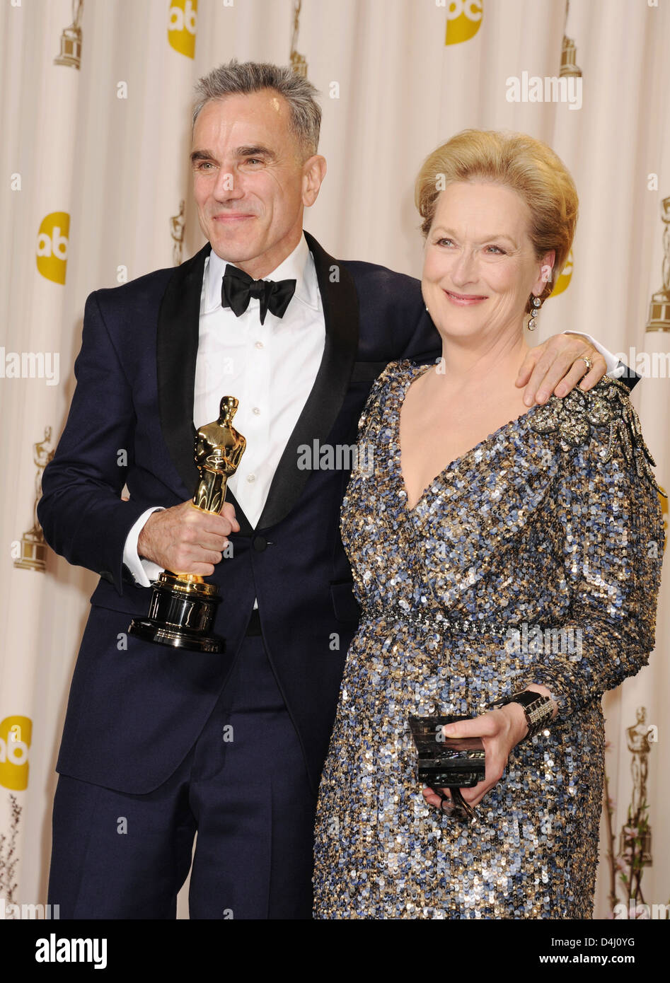 DANIEL DAY-LEWIS holding his Oscar and Meryl Streep at 85th Academy Awards in Los Angeles in February 2013. Photo - Stock Image