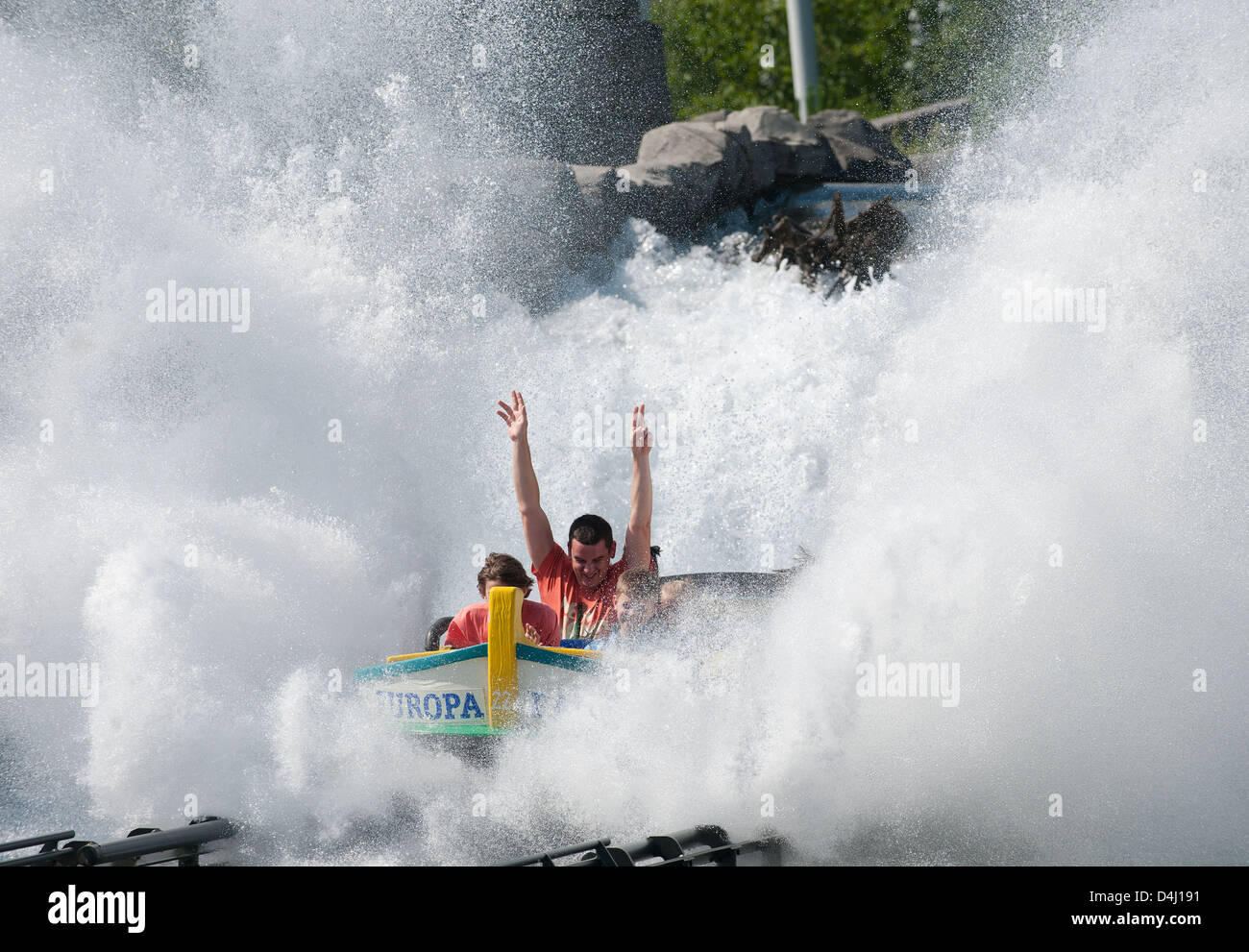 Rusr, Germany, water roller coaster at Europa-Park Rust - Stock Image