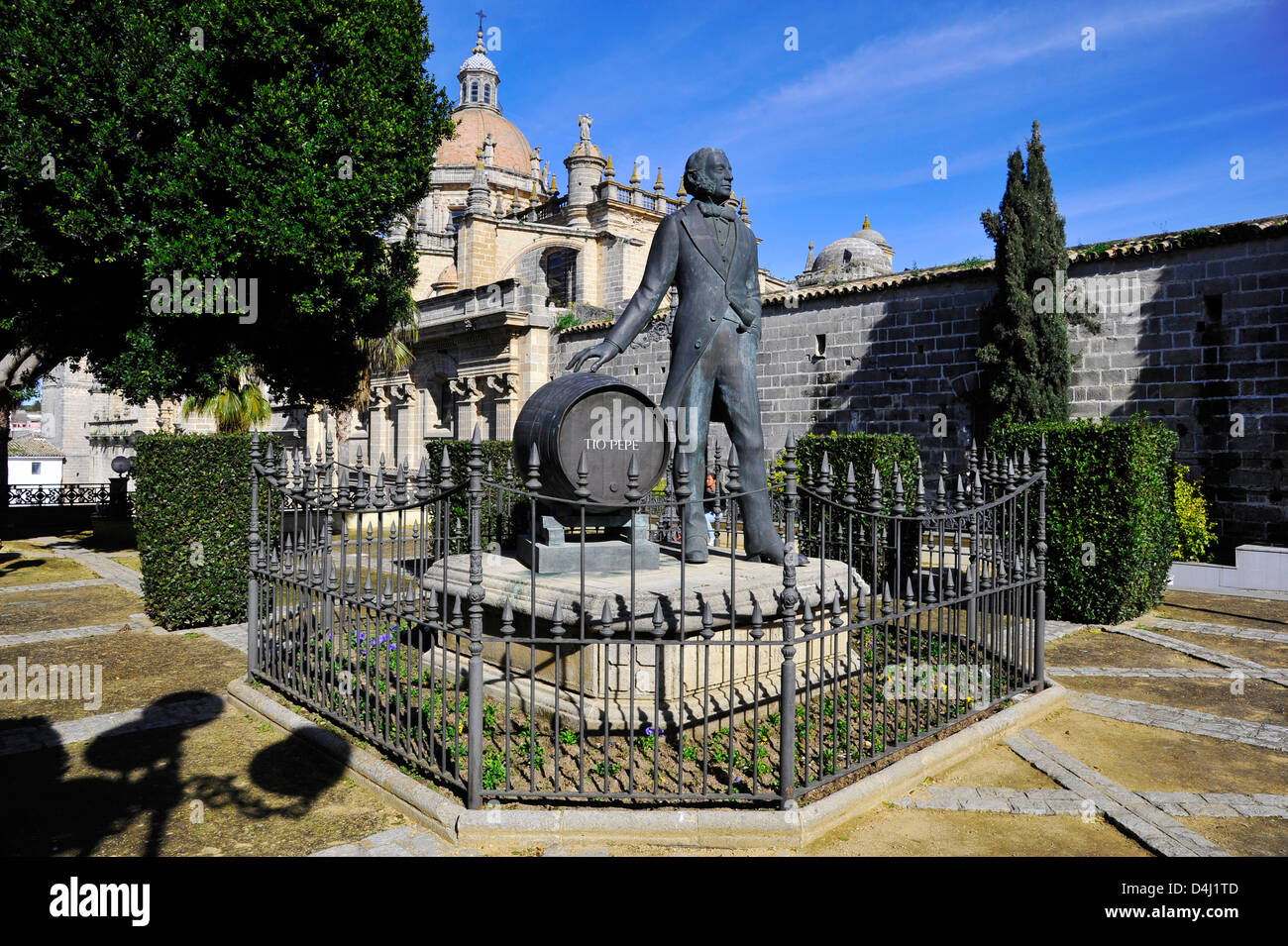 statue of Manuel Maria Gonzalez Angel, founder of the company Gonzalez Byass, producer of Brandies and Sherry Wines, - Stock Image