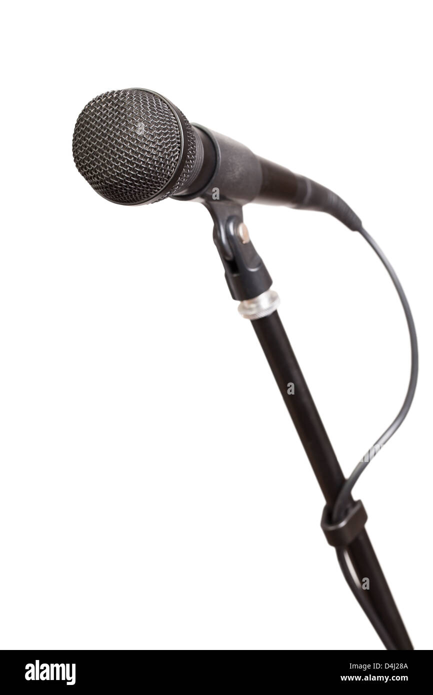 mic stand isolated on white background - Stock Image