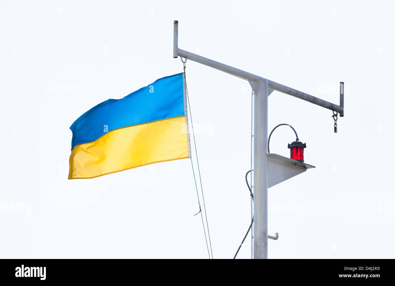 flag ukrainian flowing ship mast - Stock Image