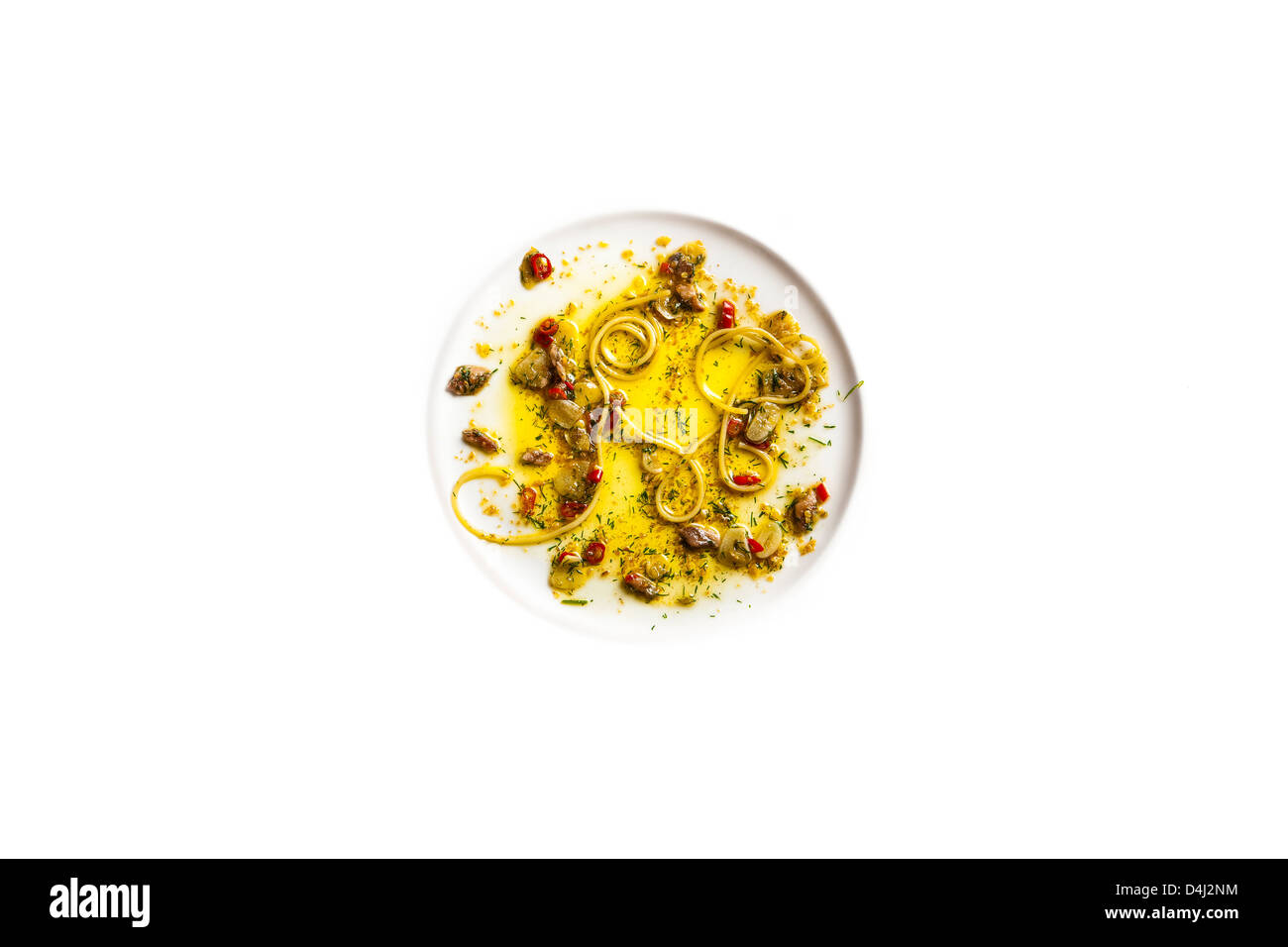 Spaghetti with Anchovies - Stock Image